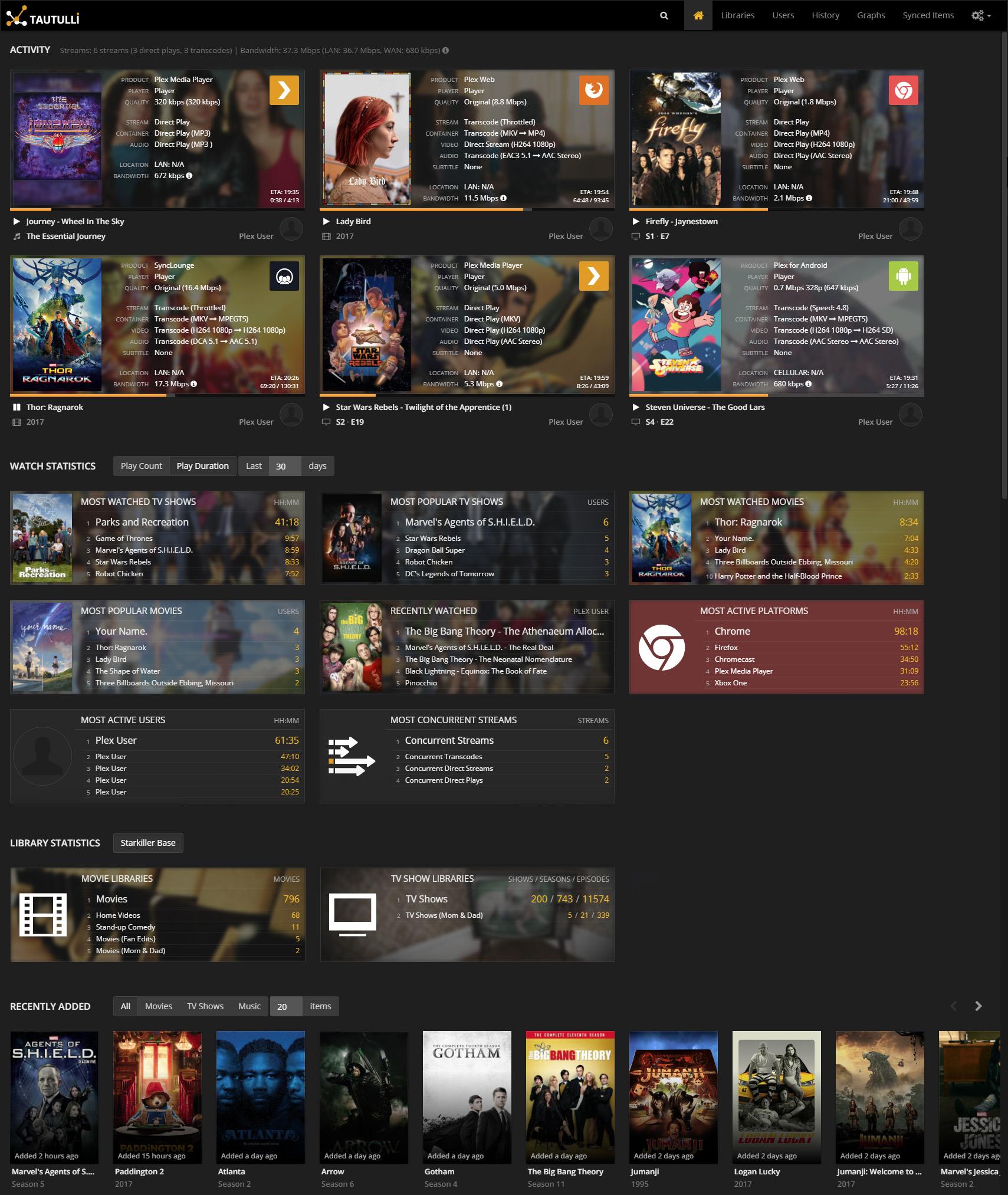 Tautulli Homepage